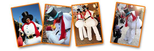 Stelzenläufer-Schneemann-Weihnachtsmann-Weihnachtsfeier-Weihnachtsmarkt